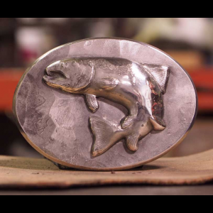 Hand Forged Belt Buckle : Sterling Silver Trout 2559