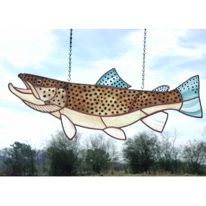 Stained & Fused Glass Brown Trout 809
