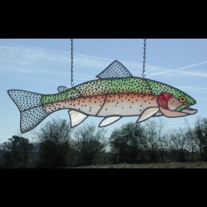 Stained/Fused  Glass Rainbow Trout 811