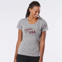 Womens Road Runner Sports Running in the USA Graphic Short Sleeve Technical Tops(L)