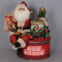 Karen Didion Originals - Lighted Toy Chest Santa