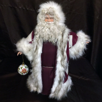 St. Nick's Attic - Maroon Crisscross Santa with Cloisonne Ornament
