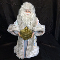 St. Nick's Attic - Pastel Santa with Golden Gift Box