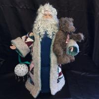 St. Nick's Attic - Sampler Quilt Santa with Teddy Bear
