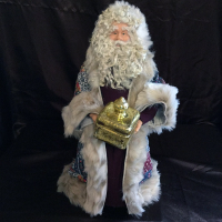St. Nick's Attic - Blue Calico Santa with Gift Box